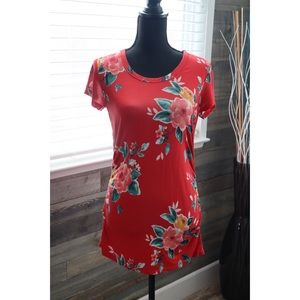 Red Floral Maternity Top